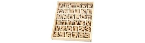 bogstaver og tal i træ