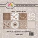 Dixi craft - hjerte mønster brun - PP0014 - 4 ark