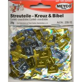 Confetti kors og bibel, guld og sølv, 20g.